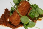 Trotter Croquettes, Romesco Sauce, Watercress $13