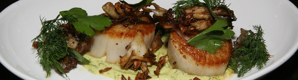 Seared Scallops, Hen of the Woods Mushrooms, Dill Agliata $17