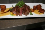 Beef tenderloin brown butter hollandaise, pommes Kennedy, glazed veggies, jus