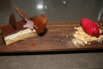 Peanut Butter and white chocolate mousse, caramel, cranberry ice cream (pastry chef Farzam Fallah)
