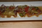 Daily Carpaccio 12 Seasonal fish original Ryoji soy sauce, onion slices, sunflower seeds and jalapenos