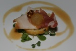 Amuse Bouche - Parma Ham, poached melon, grainy mustard and garlic crostini