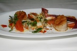 Pan Seared Sea Scallops - winter lettuces, blood oranges, lobster reduction