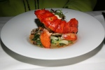 Grilled Lobster - coconut lobster hurricane broth water chestnuts greens shiitake mushrooms
