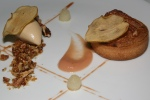 Pear Tart - pecan frangipane, maple bourbon ice cream, poached forelle pears