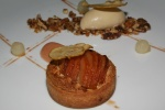 Pear Tart - pecan frangipane, maple bourbon ice cream, poached forelle pears