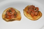Amuse Bouche – Steelhead Trout tartare on house made chip with pepper