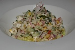 Sidecar Salad Chopped jicama, corn, red onion, cucumber, tomato, radish, feta creamy oregano dressing