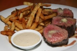 Steak Frites - Wellington County Farms AAA 10 oz petite tender, hand cut fries, roasted garlic aioli