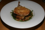 Crispy Oven Roasted Chicken Consommé, spaetzle, honey mushrooms