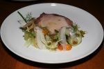 Pork Chop, Fennel Confit, Cara Cara Orange, Pistachio, Celery Shavings, Preserved Lemon, Citrus Purée 26
