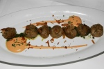 Pan seared Waygu dumplings with crisp ginger chip and chimi churri