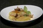 Hand rolled gnocchi with white wine reggiano cream sauce and sauté of honey mushrooms