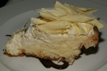 From 2012 Coconut Cream Pie with considerably more white chocolate shavings and a tender crust. Coconut Cream Pie 13 white chocolate shavings/dark chocolate sauce