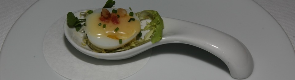Amuse Bouche quail egg/chive/frisée endive/watercress/beurre blanc