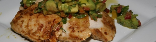 Smoky Chipotle Grilled Chicken Breasts with Limed Spiked Avocado Salad