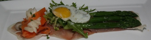 Niagara Prosciutto, Green Asparagus, Fried Quail Egg, Pickled Vegetables