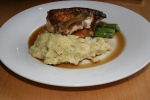 Crispy oven roasted chicken Yukon Gold mashed potato asparagus demi-glace