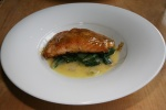 Atlantic Salmon swiss chard, dijon mustard honey glaze, white wine butter sauce