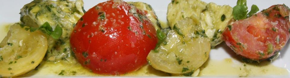 Bufula Mozzarella Vine tomatoes basil pesto