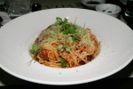 Polpette spaghetti with meatballs tomato sauce finished with shaved parmigiano reggiano $15.95