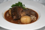 Travers de Boeuf Façon Bourguignonne Boneless beef short rib braised red wine bacon, mushrooms $18