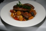 Merguez sur Ragoût de Légumes house made North African sausages made of beef and lamb $15