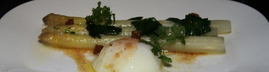 Poached white asparagus, ramps & hen's egg