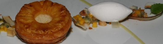 Caramelized Pineapple Tart 14 coconut lime sorbet/macadamia nuts/mango/passion fruit Valrhona