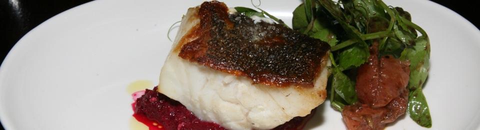 ling cod, beet root, grapefruit, black garlic 13