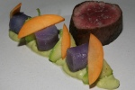 Lamb Loin • avocado • wattleseed • apricot