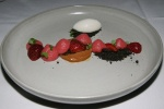 Strawberries-black malt•white chocolate•milk sorbet