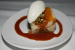 Summer peach upside down cake with creme fraiche and praline