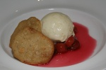 white chocolate chip cookie - Ontario sour cherries, vanilla ice cream