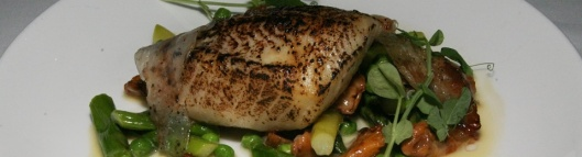white soy-glazed B.C. black cod - chanterelles, sweet peas, asparagus, pancetta 29