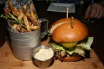 St. Williams Cheeseburger, day picked mushroom, smoked Balderson's, house cut salt + pepper fries