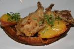 Buttermilk Fried Quail & Waffles - roasted peaches, maple syrup 14