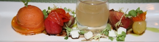 Tasting of tomatoes, birch syrup, feta cheese