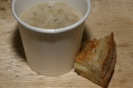 New England Clam Chowder sip with Cheesewerks grilled cheese point