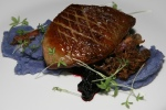 Seared Quebec Foie Gras $19 Purple potato purée lobster mushrooms bacon crispy confit Saskatoon compote