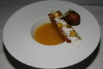 Peach Gazpacho - ham onion pistachio