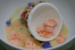 Chef Marc Lepine Demonstrates Chilled Corn Soup with Lobster, Tomato, Chili & Frozen Yogurt Dome