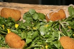 The Hut Crisp Pork Rissole, Sweet Mustard Dressing, Watercress and Shallot Salad