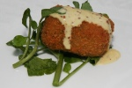 Crisp Pork Rissole, Sweet Mustard Dressing, Watercress and Shallot Salad