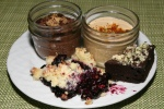 Chocolate Cream Pie, Caramel Parfait, Blueberry Lemon Bergamot Crisp, Brownies with Celery Milk Crumble