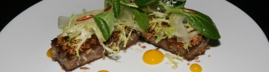 Seared Pork Terrine, Celery, Lettuce, Chili, Egg Yolk, Ume Vinaigrette 14