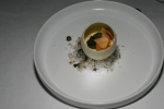 Duck egg custard, snails, garlic