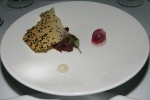 Venison tartare, balsam fir gel, eucalyptus mustard seed, celery root cracker, pickled onion, pursulane