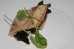 Pheasant Breast, chanterelles, bone marrow, ember leeks, field arugula