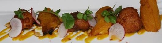 Roasted Acorn Squash, Goats' Cheese Fritters, Squash Dressing